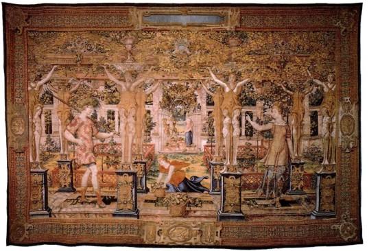 """Tapís """"Vertumne transformat en camperol"""". S. XVI. Catàleg de tapissos del Patrimoni Nacional."""